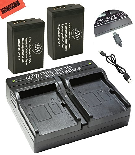 BM Premium 2-Pack of LP-E17 Batteries and Battery Charger for Canon EOS M3, EOS Rebel T6i, Rebel T6s, EOS 750D, EOS 760D, EOS 8000D, KISS X8i Digital SLR ...