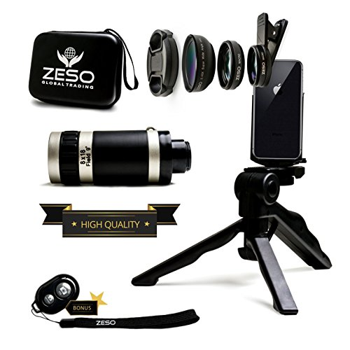 Camera Lens Kit by Zeso | Professional Telephoto, Macro & Wide Angle