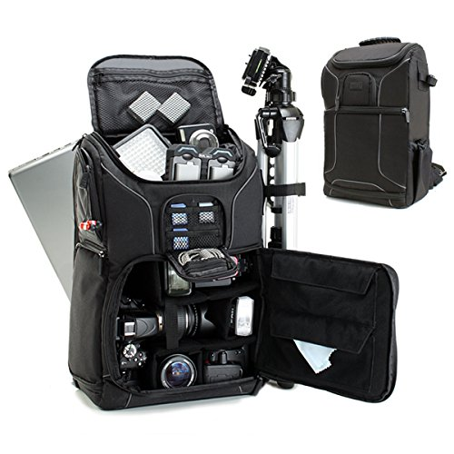 Digital SLR Camera Backpack with Padded Custom Dividers , Tripod Holder , Laptop Compartment , Rain Cover and Accessory Storage by USA Gear for DSLR Cameras ...
