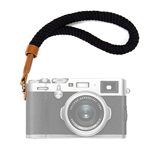 Black Cotton Camera Hand Wrist Strap for Fujifilm X100F X-T20 X-T2 X70 X-Pro2 X-E3 X-E2 X30 XQ2 X100 X100S X100T for Sony A6000 A6300 A6500 A5100 A5000 RXIR ...