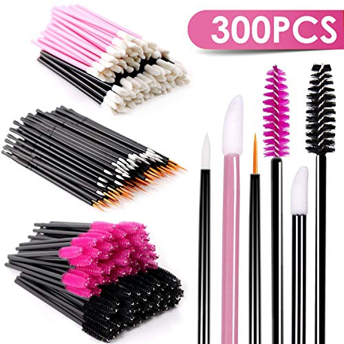 BTArtbox Disposable Makeup Applicator Mascara Wands & Lipstick Applicators & Eyeliner Brush 300PCS Daily Makeup Brushes Sets Kits 6 Styles Black, ...