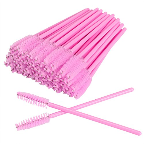 AKStore 100 PCS Disposable Eyelash Brushes Mascara Wands Eye Lash Eyebrow Applicator Cosmetic Makeup Brush Tool Kits Pink